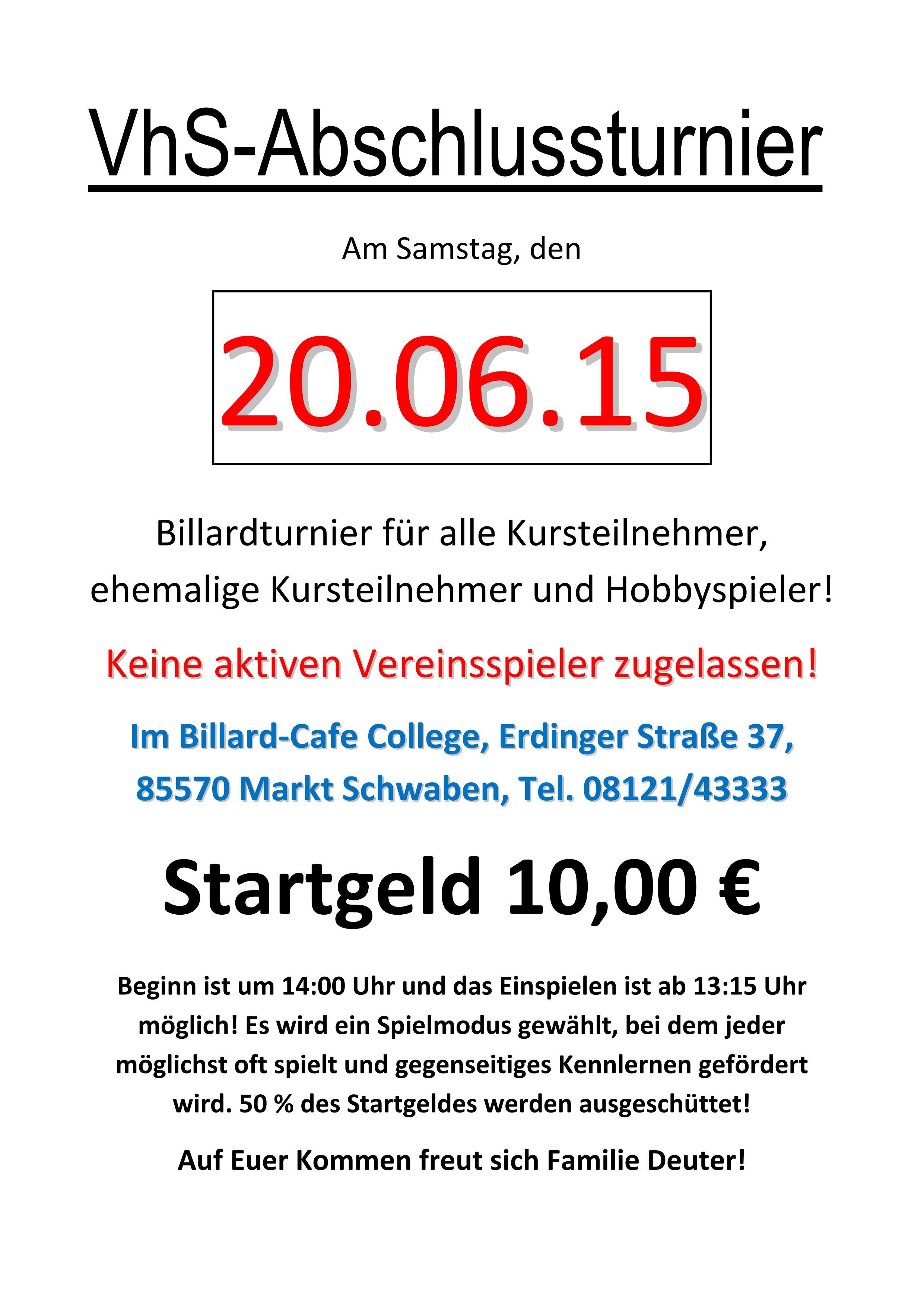 Vhs-Abschlussturnier Juni 2015
